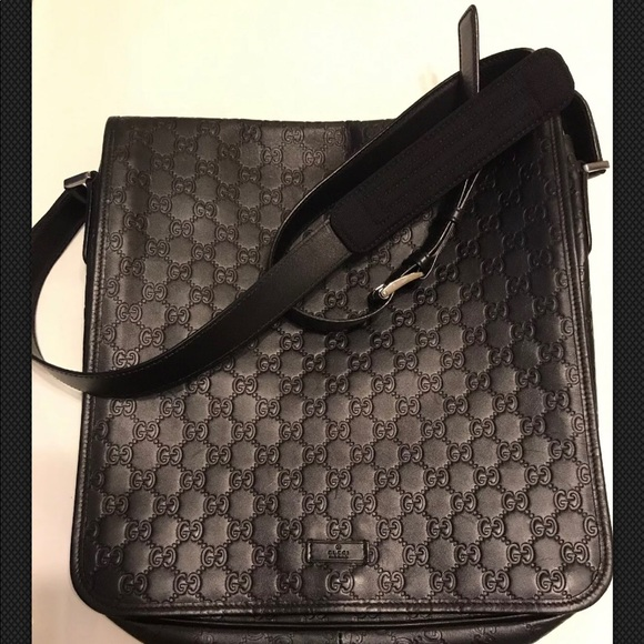 a91b2f56e Gucci Handbags - GUCCI Black leather monogram messenger bag!